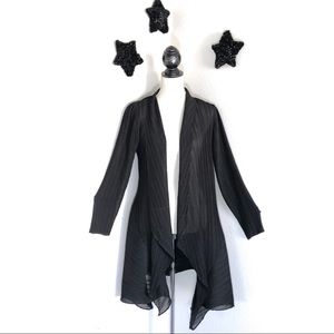 SOLD Black Semisheer Crinkle Princess-cut Duster